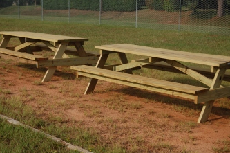 These are some of the new picnic tables built by Homer High School students.