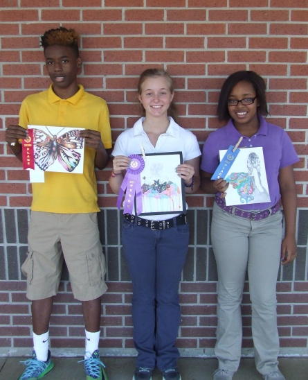left to right: Tavarious Williams, Brittney Sandifer, Shemya Mozeke, pictured with their winning artwork for the Haynesville Butterfly Festival Art Contest