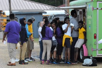 Students in line for the sno cone stand.