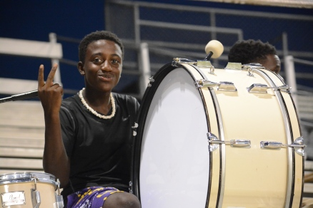 Sophomore Paul McGee on the bass drum