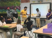 Meshaunta Adams, Jimiricle Crew, Kennelius Gulley, Chauncell Jenkins, and Stantavia Hamilton read to Mrs. Bailey's fourth grade class.